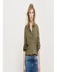 Violeta by Mango - Green Ribbed Panel Shirt - Lyst