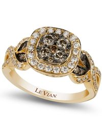 Le Vian | Metallic Chocolate (1/2 Ct. T.W.) And White (3/8 Ct. T.W.) Diamond Ring In 14K Gold | Lyst