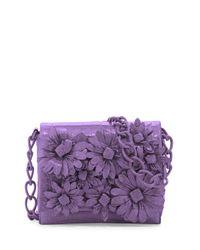 Nancy Gonzalez - Purple Crocodile Flower Chain Bag - Lyst