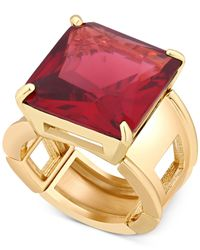 T Tahari | Metallic Gold-tone Red Crystal Cocktail Stretch Ring | Lyst