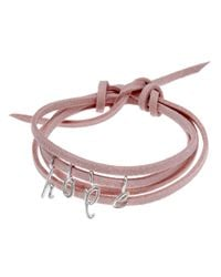 Dalla Nonna | Pink Little Letter Wrap Bracelet In Silver | Lyst