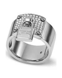 Michael Kors | Metallic Silvertone Crystal Plaque and Padlock Ring | Lyst