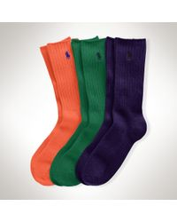 Polo Ralph Lauren - Multicolor Crew Sock 3-pack Set for Men - Lyst