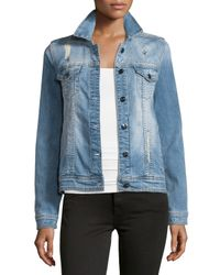 Nanette Nanette Lepore - Blue Glam Distressed Studded Denim Jacket - Lyst