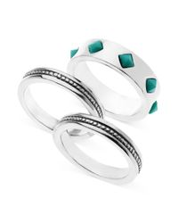 Guess - Metallic Silvertone Turquoise Stone and Textured Ring Set - Lyst