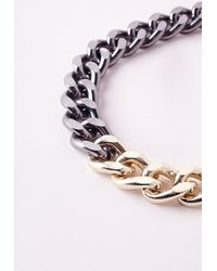 Missguided - Gray Two Tone Chain Necklace - Lyst