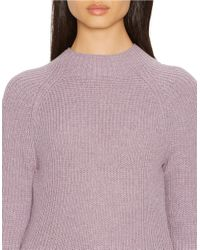 Lauren by Ralph Lauren | Purple Petite Ribbed Merino Wool Sweater | Lyst