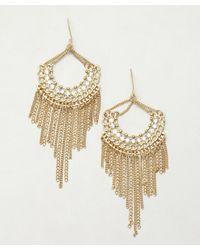Sparkling Sage - Metallic Gold and Crystal Fringe Chandelier Earrings - Lyst
