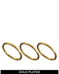 Dogeared - Metallic Gold Plated Set Of 3 Karma Rings - Lyst