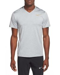 Nike | Gray 'ultimate Dry' Dri-fit Training V-neck T-shirt for Men | Lyst