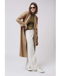 TOPSHOP - Natural Wool Slouch Coat - Lyst