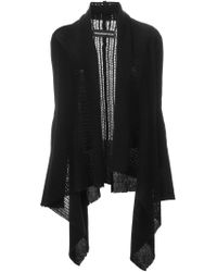 Zadig & Voltaire - Black Fishnet Knit Draped Cardigan - Lyst