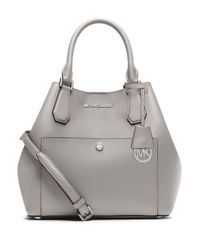 MICHAEL Michael Kors - Gray Saffiano Leather Grab Bag - Lyst