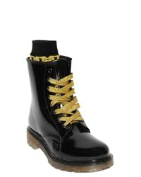 Colors Of California | Black 20Mm Glitter Rubber Lace Up Boots | Lyst
