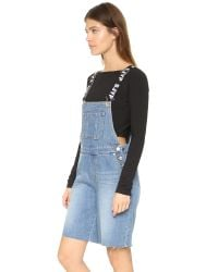 SJYP - Blue Denim Overall Shorts - Lyst