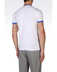 EA7   White T-shirt In Stretch Cotton Jersey for Men   Lyst