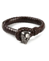 Alexander McQueen - Brown Woven Skull Bracelet for Men - Lyst