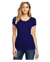 Michael Stars | Blue Shine Short Sleeve Drape Neck Tee | Lyst