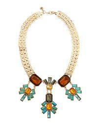 Sam Edelman | Metallic Golden Cluster Necklace | Lyst