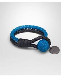 Bottega Veneta - Bracelet In Tourmaline Bluette Intrecciato Nappa - Lyst