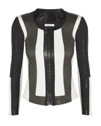Helmut Lang | Black Leather and Stretch Canvas Jacket | Lyst