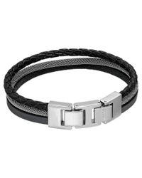 Fossil | Black Triple Strap Bracelet for Men | Lyst