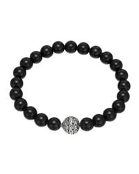 John Hardy | Metallic Large Black Chalcedony Beaded Bracelet With Magnetic Clasp | Lyst