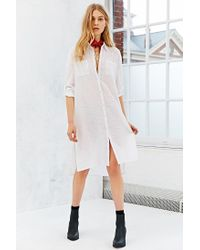 Band Of Gypsies - Natural Gauze Midi Shirt Dress - Lyst