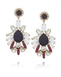 J.Crew - Blue Persian Leaves Goldtone Crystal Earrings - Lyst