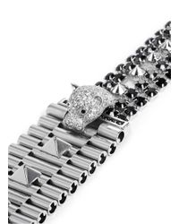 Iosselliani | Black Crystal Pavé Panther Head Chain Bracelet | Lyst
