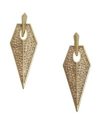 Rebecca Minkoff | Metallic Gold Crystal Encrusted Blade Earrings | Lyst