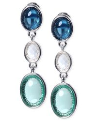 Jones New York | Silver-tone Blue Triple Oval Clip-on Drop Earrings | Lyst