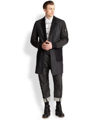 DSquared² - Gray Mixedmedia Topcoat for Men - Lyst