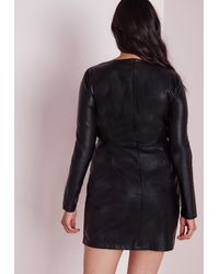 Missguided - Plus Size Faux Leather Mini Dress Black - Lyst