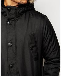 Jack & Jones | Black Core Parka With Faux Fur Hood for Men | Lyst