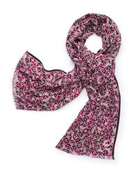 Tory Burch | Purple All-over Fret Scarf | Lyst