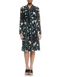 Proenza Schouler | Multicolor Long-sleeve Printed Dress W/ Pleated Skirt | Lyst