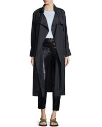 Isabel Marant - Black Wrap-front Long-sleeve Trenchcoat - Lyst