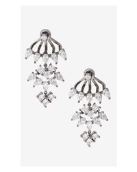 Express | Metallic Rhinestone Dangle Jacket Earrings | Lyst