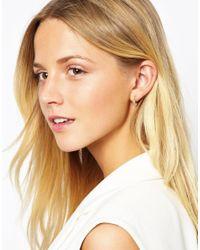 Orelia - Metallic Tiny Bead Hoop Earring - Lyst