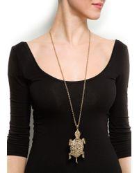 Mango - Metallic Turtle Pendant Necklace - Lyst