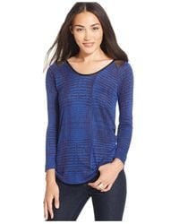 Calvin Klein Jeans - Blue Lace-print Loose-fit Top - Lyst