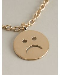 A.P.C. | Metallic Sad Smiley Necklace | Lyst