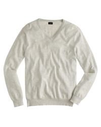 J.Crew - Gray Cotton-cashmere V-neck Sweater for Men - Lyst