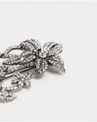 Zara | Metallic Floral Gem Brooch Floral Gem Brooch | Lyst