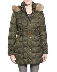 Betsey Johnson | Natural Faux Fur Trim Belted Puffer Coat | Lyst