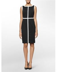 Calvin Klein - Black White Label Colorblock Piped Ponte Knit Sleeveless Sheath Dress - Lyst