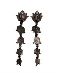 Lanvin - Black Blanche Crystal Earrings - Lyst