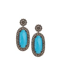 Bavna | Blue Elongated Turquoise Drop Earrings | Lyst