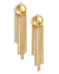 Rachel Zoe - Metallic 'remy' Fringe Drop Earrings - Lyst